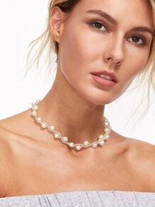 White Faux Pearl Beaded Choker Necklace
