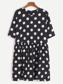 Dark Blue Polka Dot Zipper Back Babydoll Dress