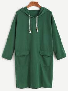 Green Drop Shoulder Dual Pocket Drawstring Hooded Sweatshirt Dress