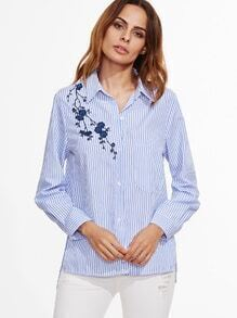 Blue Vertical Striped High Low Flower Embroidery Blouse