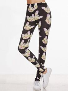 Black Cat Print Skinny Leggings