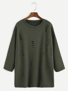Army Green Dropped Shoulder Seam Ripped T-shirt