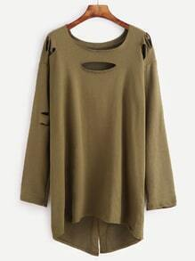 Army Green Dip Hem Ripped Long T-shirt