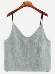 Pale Green Corduroy Dip Hem Cami Top