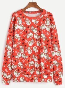 Red Snowman Print Sweatshirt