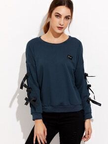 Blue Drop Shoulder Bow Tie Sleeve Patch Sweatshirt