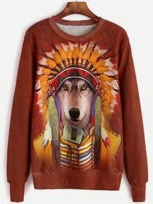 Wolf Print Long Sleeve Sweatshirt
