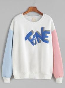 Contrast Sleeve Letter Print Drop Shoulder Sweatshirt