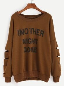 Brown Letter Print Drop Shoulder Cutout Sleeve Sweatshirt