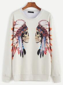Beige Tribal Print Sweatshirt