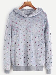 Polka Dot Hooded Fuzzy Sweatshirt