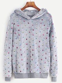 Polka Dot Hooded Fuzzy Sweatshirt