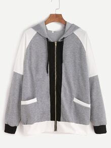 Contrast Raglan Sleeve Zip Up Pocket Hooded Sweatshirt