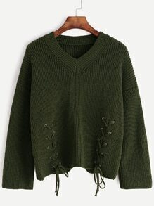 Army Green V Neck Lace Up Front Sweater