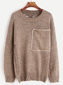 Khaki Drop Shoulder Pocket Hollow Out Sweater