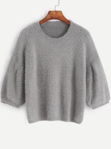Grey Dropped Shoulder Seam Fuzzy Sweater