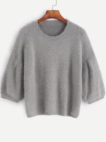 Grey Dropped Shoulder Seam Fuzzy Sweater