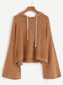 Khaki Drop Shoulder Drawstring Hooded Sweater