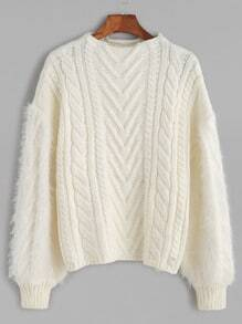 White Crew Neck Fuzzy Sleeve Cable Knit Sweater