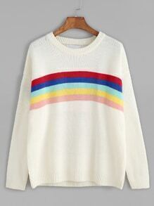 White Dropped Shoulder Seam Rainbow Striped Sweater