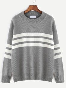 Grey Drop Shoulder Striped Sweater