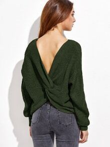 Army Green V Neck Drop Shoulder Twist Back Sweater