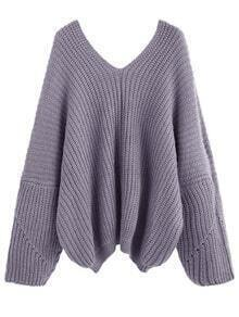 Light Purple V Neck Dropped Shoulder Seam Sweater