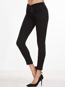 Black Single Breasted Skinny Pants