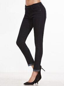 Black Roll Hem Skinny Jeans