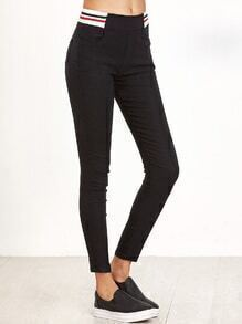 Black Striped Trim Elastic Waist Pants