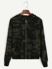 Camo Print Zip Up Drawstring Hooded Jacket