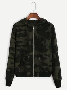 Camo Print Zip Up Drawstring Hooded Jacket