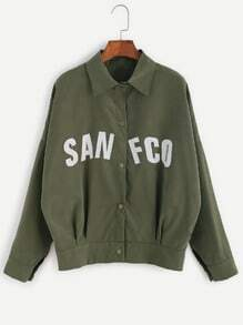 Army Green Letter Print Dropped Shoulder Seam Jacket