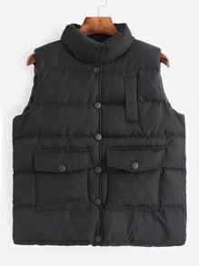 Black High Neck Dual Pocket Front Padded Vest Coat