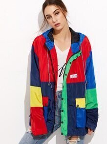 Color Block Back Pocket Drawstring Hooded Coat