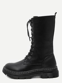 Black Faux Leather Lace Up Mid Calf Boots