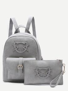 Grey Cartoon Patch Front Pocket Two Piece Backpack