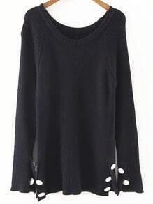 Black Button Detail Raglan Sleeve Sweater