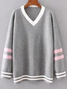 Grey Striped Trim Contrast V Neck Sweater