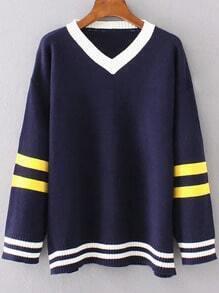 Navy Striped Trim Contrast V Neck Sweater