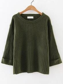 Army Green Ribbed Rolled Cuff Sweater
