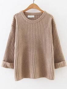 Khaki Ribbed Rolled Cuff Sweater