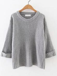 Grey Ribbed Rolled Cuff Sweater
