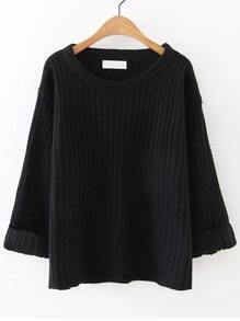 Black Ribbed Rolled Cuff Sweater