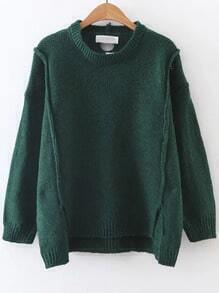 Dark Green Ribbed Trim Dip Hem Sweater