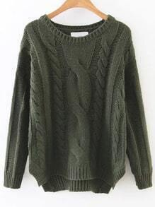 Army Green Cable Knit Asymmetrical Hem Sweater