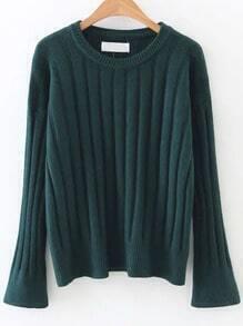 Dark Green Ribbed Bell Sleeve Sweater