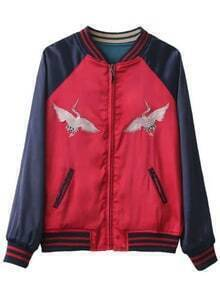 Red Color Block Crane Embroidery Reversible Jacket