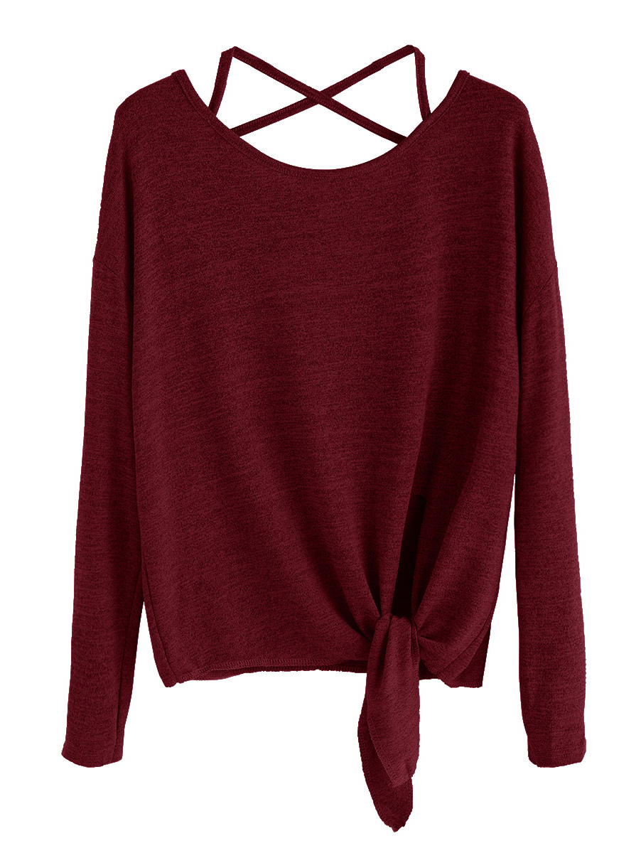 burgundy drop shoulder criss cross tie front tshirt  romwe