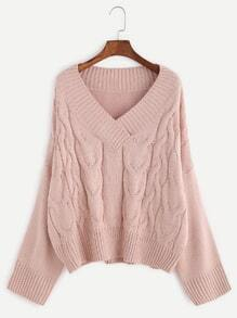 Pink V Neck Drop Shoulder Cable Knit Sweater